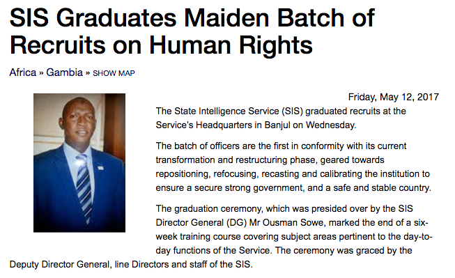Screenshot of news article: SIS Graduates Maiden Batch of Recruits on Human Rights