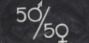 50/50, where the 0s are the symbols for male and female