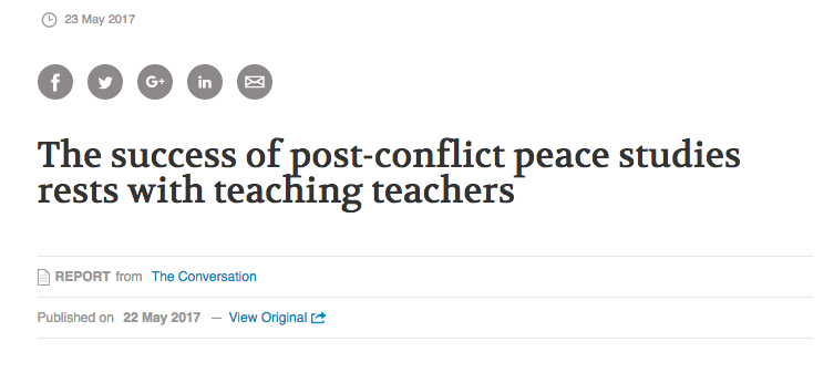 Screenshot of news article: The success of post-conflict peace studies rests with teaching teachers