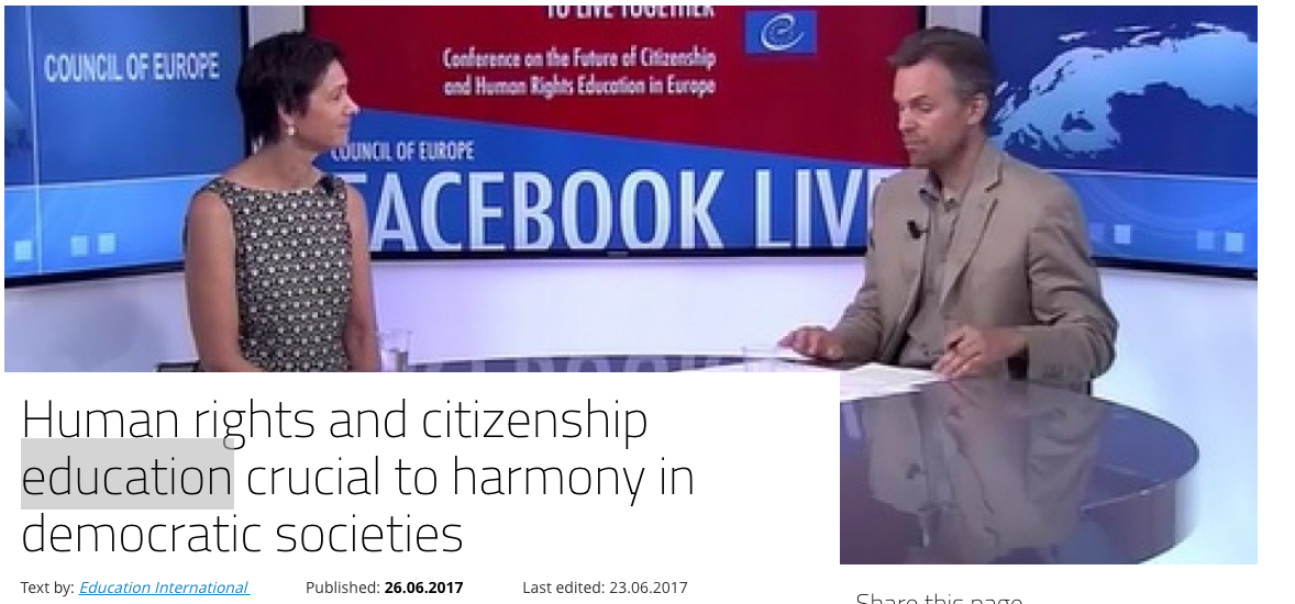 """A screenshot of a news report titled """"Human rights and citizenship education crucial to harmony in democratic societies"""""""