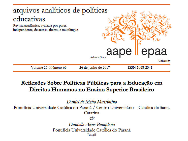 A screenshot of the cover of a research article about human rights by Massimino and Pamplona