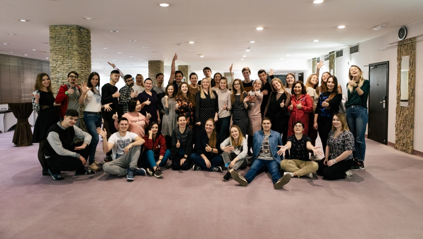 The Council of Europe Youth Department training in Moscow. A group of people poses for a photo