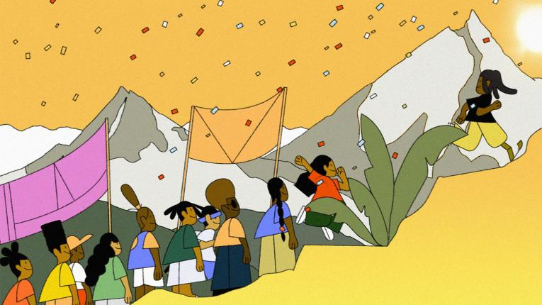 A screenshot of a human rights game app for kids depicts a group of people climbing a hill together