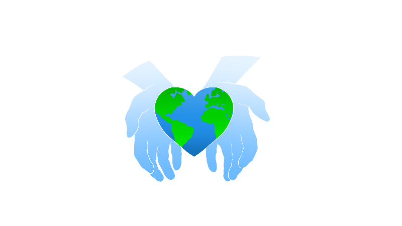 Two hands hold an earth in the shape of a heart
