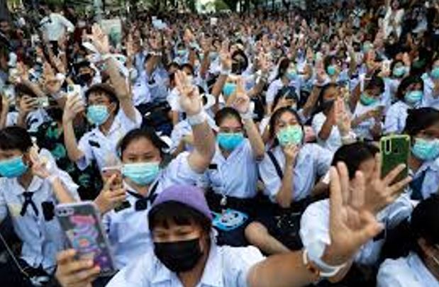 A group of Thai youth rally together in defense of their human rights